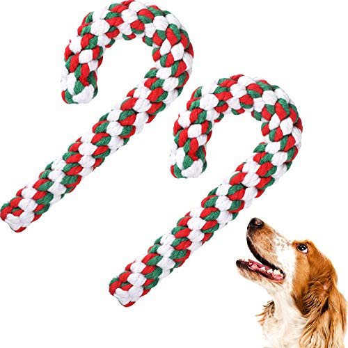 2 Pieces Christmas Pet Chew Toys Candy Cane Dog Rope Toy Dog Chew Rope Toys for Christmas Dog Puppy Pets Chewing(Mixed Red, Green, White)