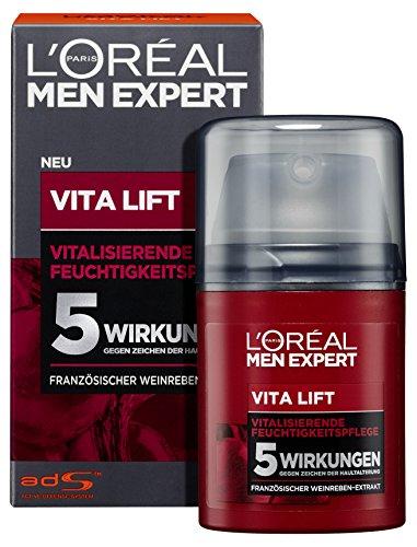 L\'Oréal Men Expert Gesichtspflege gegen Falten, Anti-Aging Feuchtigkeitscreme für Männer, Sofortiger Anti-Augenringe- und Anti-Falten-Effekt, Vita Lift Feuchtigkeitspflege, 1 x 50 ml