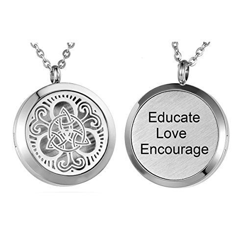 HooAMI Aromatherapy Essential Oil Diffuser Necklace - Educate Love Encourage Celtic Knot Locket Pendant