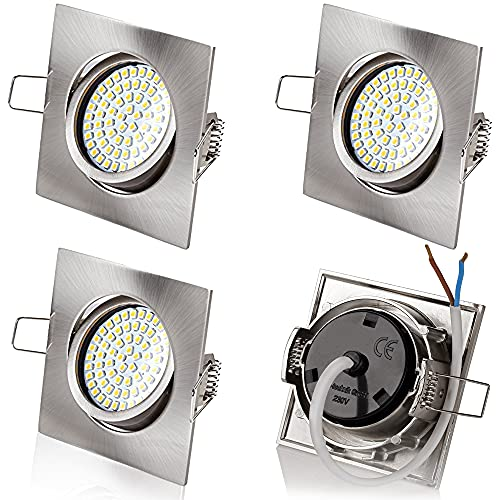4er sparpack sweet led® Flaches Design LED Einbaustrahler Flach | 3.5W | 230V | Edelstahl Optik | Rund - Eckig | Schwenkbar Einbauspots Einbauleuchten Einbau led (Eckig chrom gebürstet - Kaltweiß)