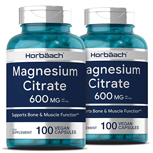 Magnesium Citrate 600mg | 200 Vegan Caplets - Twin Pack | Support Muscle & Bone Function | Non-GMO, Gluten Free Magnesium Supplements