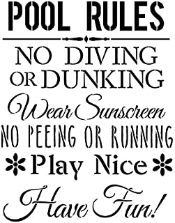 Pool Rules Stencil by StudioR12   Fun Swimming Safety Word Art - Large 11 x 14-inch Reusable Mylar Template   Painting, Chalk, Mixed Media   Use for Wall Art, DIY Home Decor - STCL1214_1