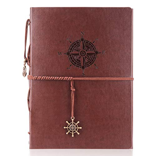 FANTINE Photo Album Scrapbook, Diy Vintage Leather Guest Book And Black Page Memory Albums Compass