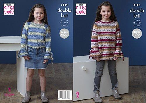 King Cole Childrens dubbel breien patroon meisjes Raglan mouw trui en jurk (5164)
