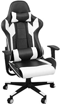 Tiltable Chair Ergonomic Gaming Wheeled Desk Room Office with Arms Faux Leather Big White Swivel Racing