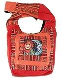 Guru-Shop Schultertasche, Hippie Tasche, Goa Schulterbeutel mit Sonne, Mond - Rostorange, Herren/Damen, Baumwolle, Size:One Size, 30x30x8 cm, Bunter Stoffbeutel
