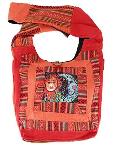GURU SHOP Schultertasche, Hippie Tasche, Goa Schulterbeutel mit Sonne, Mond - Rostorange, Herren/Damen, Baumwolle, Size:One Size, 30x30x8 cm, Bunter Stoffbeutel
