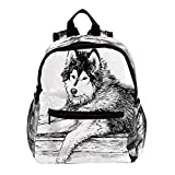 Daypack for Kids Sled Dog Hand Drawn Kindergarten Backpack for Kids Aged 3-8 25.4x10x30CM