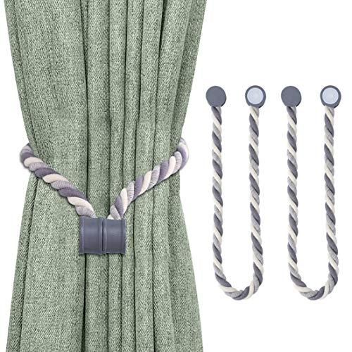 Lewondr Magnetische Vorhang Seil, 2 Stücke Einfach Baumwollseil Vorhang Halter Harz Deko Raffhalter Vorhang Binder Zubehör mit Starken Magneten Vorhanghalter für Büro Haus Dekoration, Dunkelgrau
