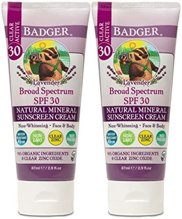 Badger SPF 30 Lavender Clear Zinc Sunscreen Cream Broad Spectrum Water Resistant Reef Safe Sunscreen product image
