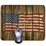 Retro USA Flag on Vintage Wood Texture Background Mouse pad mat Old