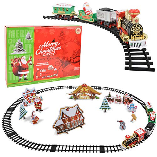 Victostar Christmas Train Set for Kids with Lights and Sounds Railway Tracks Playset with 4 Cars and 10 Tracks Chirstmas Gifts for Kids Boys Girls