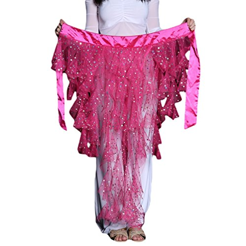 YuanDian Mujer Cinturon Danza Del Vientre Cadera Pañuelo Bufanda Brillante Lentejuelas Perspectiva Net Hilado Profesional Arabe Oriental Tribal Danza Ropa Accesorios Cintura Cadena Rose