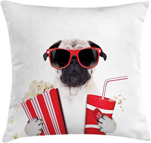 Federa per cuscino, motivo: carlino, con scritta 'Going to the Movies Pug Dog Popcorn', con immagine divertente di animali, 45 x 45 cm, colore: panna e rosso nero