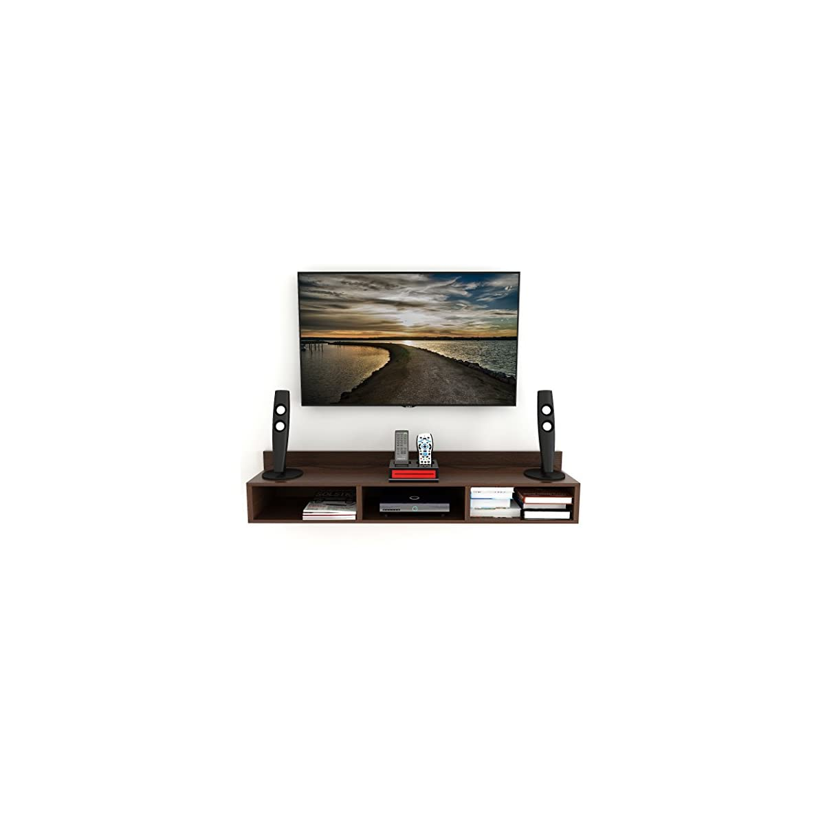 Bluewud Coober Engineered Wood TV Entertainment Wall Unit/Set Top Box Stand (Large)