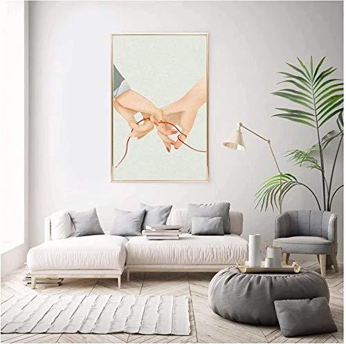 GKZJ Impresiones en Lienzo Imagen Amante Tomados de la Mano Pintura en Lienzo Anillo de línea roja Amor Dulce Arte de la Pared Póster Decoración Minimalista para el hogar70x90cm sin Marco