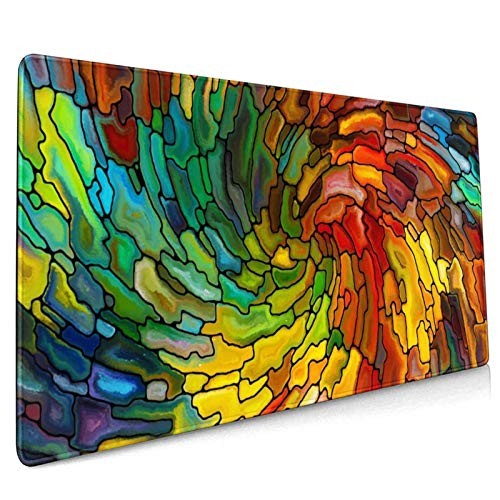 Stained Glass Mousepad Non-Slip Rubber Gaming Mouse Pad Mouse Pads for Computers Laptop 15.7 X 35.4 in