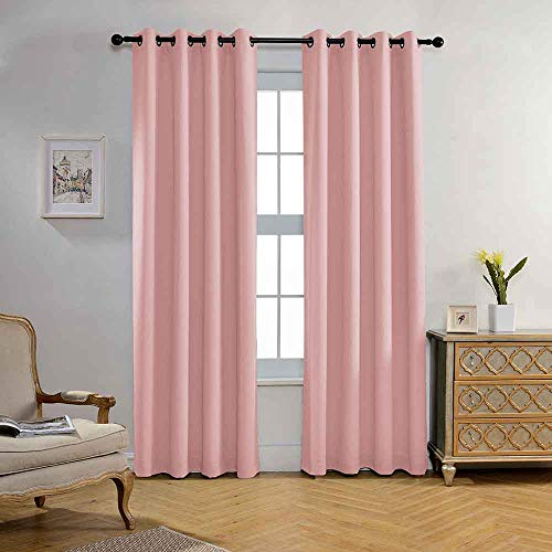 Miuco Blackout Curtains Room Darkening Textured Grommet Window Curtains for Nursery Curtains 2 Panels 52x95 Inch Pink