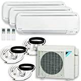 DAIKIN 3 Zone Air Conditioner Heat Pump + Maxwell 15 ft. Installation Kit + Wall Bracket (9000 + 15000 + 18000 BTU)