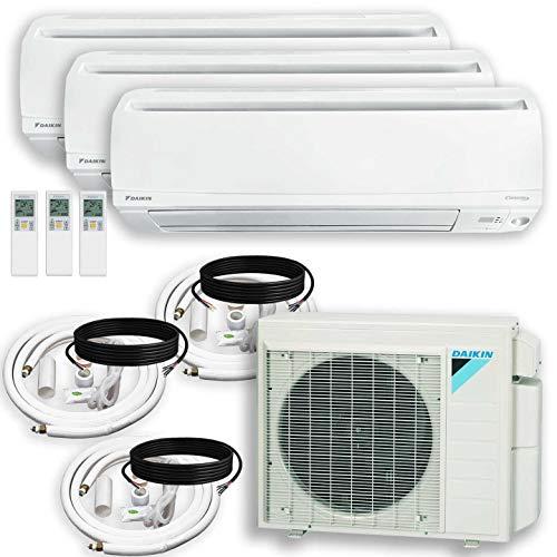 DAIKIN 3 Zone Air Conditioner Heat Pump + Maxwell 15 ft. Installation Kit + Wall Bracket (9000 + 15000 + 15000 BTU)