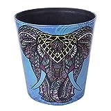 HMANE 10L/2.64 Gallon PU Leather Trash Can Decorative Waterproof Wastebasket Paper Basket Garbage Bin for Home Office Bathroom - (Elephant)