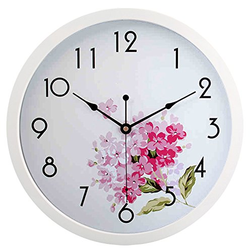 hito Silent Floral Wall Clock Non Ticking 10 inch Excellent Accurate Sweep Movement Glass Cover, Decorative for Kitchen, Living Room, Bathroom, Bedroom, Office (fl1 White)