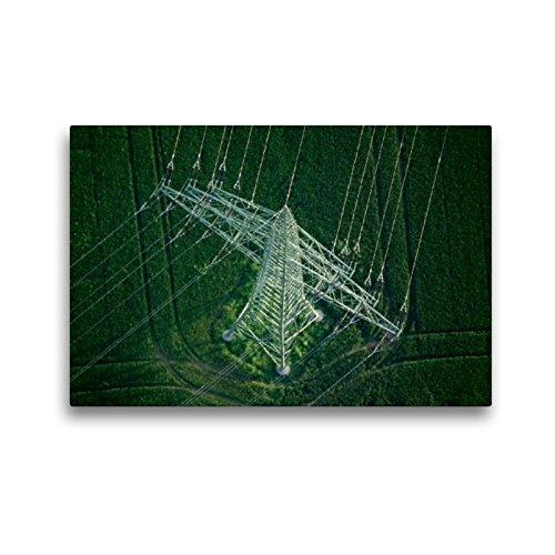 CALVENDO Premium Textil-Leinwand 45 x 30 cm Quer-Format Hochspannungsleitungsmast im Stadtteil Neckarau, Leinwanddruck von Michael Melchert