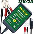 Mroinge 6V 12V Automotive Trickle Battery Charger Maintainer for All Lead Acid Batteries
