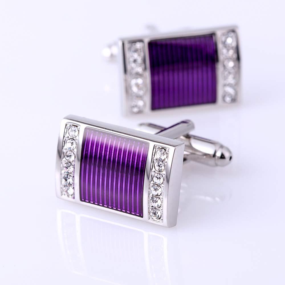 KFLK Jewelry Shirt Cufflinks for Mens Brand Crystal Purple Cuff Links Wedding Button Guests