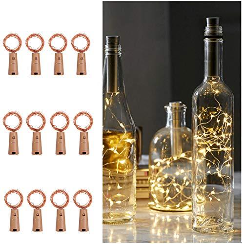 Ehome Flaschenlicht 2M/12x 20 LED Flaschen-Licht Lichterkette flaschenlichterkette korken LED Nacht Licht Weinflasche Hochzeit Party romantische Deko (warm)