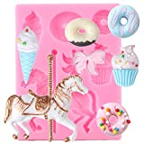 JACKWS Carrusel Molde De Silicona Herramientas De Decoración De Pasteles De Cumpleaños para Bebés Donuts Helado Cupcake...