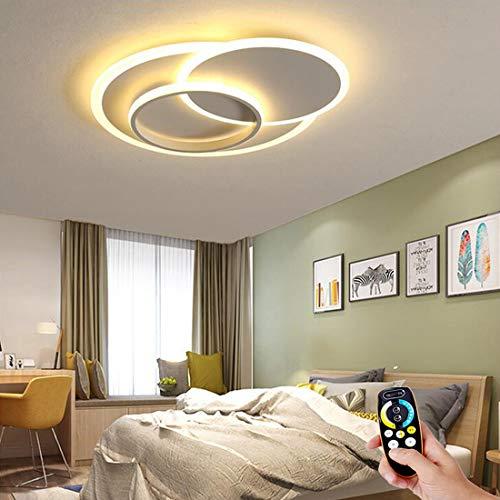 Lámpara de techo colgante LED regulable, lámpara de oval para dormitorio con control remoto, lámpara de plafón para sala de estar anillo redondo 3 blanco, luces de techo diseño de metal moderno, 58cm