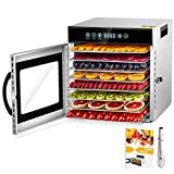 8 Layers Food Dehydrator, Stainless Steel Food Dryer for Fruit and Jerky with Adjustable Temperature Control and Timer, 360° Airflow Circulation Food Dryer with Cookbook & Tongs