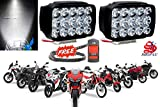 SHOP4U Waterproof 15 LED Fog Light Head Lamp for All Bikes and Sccoties (Set of 2, Free On/Off...