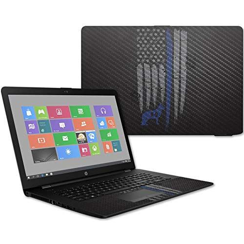 MightySkins Carbon Fiber Skin for HP 17T Laptop 17.3' (2017) - Thin Blue Line K9   Protective, Durable Textured Carbon Fiber Finish   Easy to Apply, Remove, and Change Styles   Made in The USA
