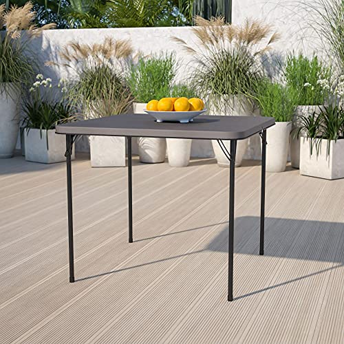 Flash Furniture 2.83-Foot Square Bi-Fold Dark Gray Plastic Folding Table with Carrying Handle