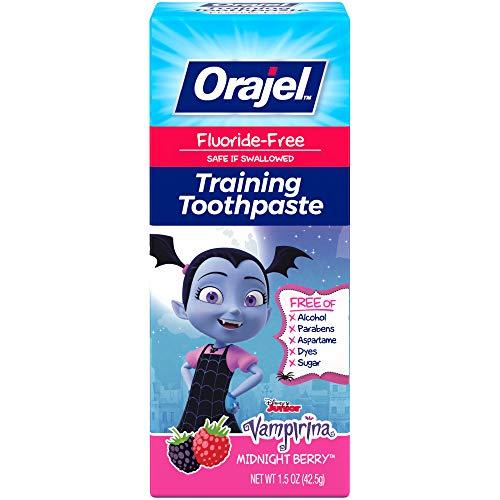 Orajel Vamparina Fluoride-Free Training Toothpaste, Midnight Berry Flavor, One 1.5oz Tube: Orajel #1 Pediatrician Recommended Brand for Kids Non-Fluoride Toothpaste