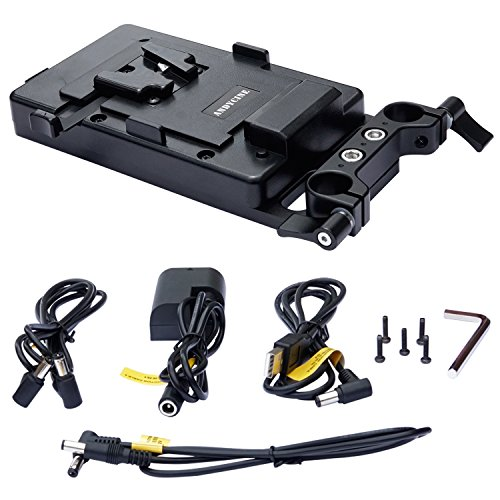 ANDYCINE V Lock Mount Batterieplatte V Batterieadapter mit D-TAP/P Tap/DC/USB Ausgangsleistung für Monitore, DSLR-Kameras, tragbare Geräte