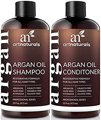 ArtNaturals Organic Moroccan Argan Oil Shampoo and Conditioner Set - Sulfate Free - Volumizing & Moisturizing - Gentle on Curly & Color Treated Hair - Infused with Keratin