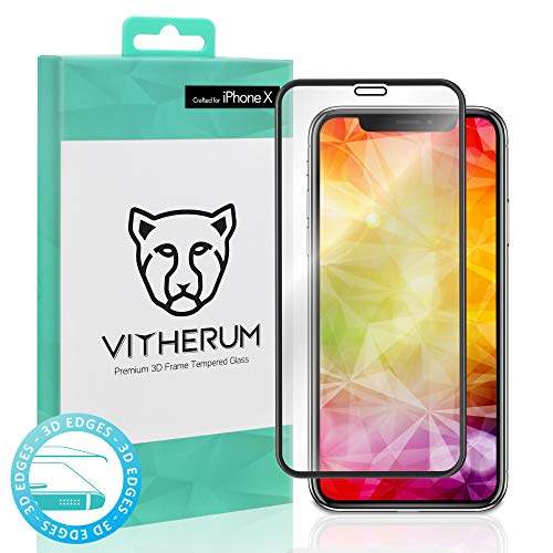 VITHERUM Turquoise pour iPhone X/XS Verre trempé incurvé 3D Touch, Protection d'écran Ultra résistant 9H et 188mJ