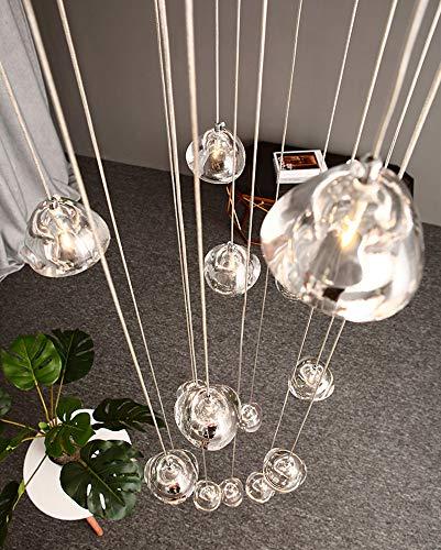 LED Moderne Pendelleuchte esstisch Pendellampe Villa Kronleuchter Höheverstellbar Hängeleuchte aus Glas Küchen Flurlampe Kristall Treppenhaus Wohnzimmer Hotel Kann (Square, 14-flammig)