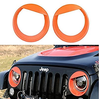 Jeep Wrangler Bezels Front Light Headlight Angry Bird Style Trim Cover - Pair