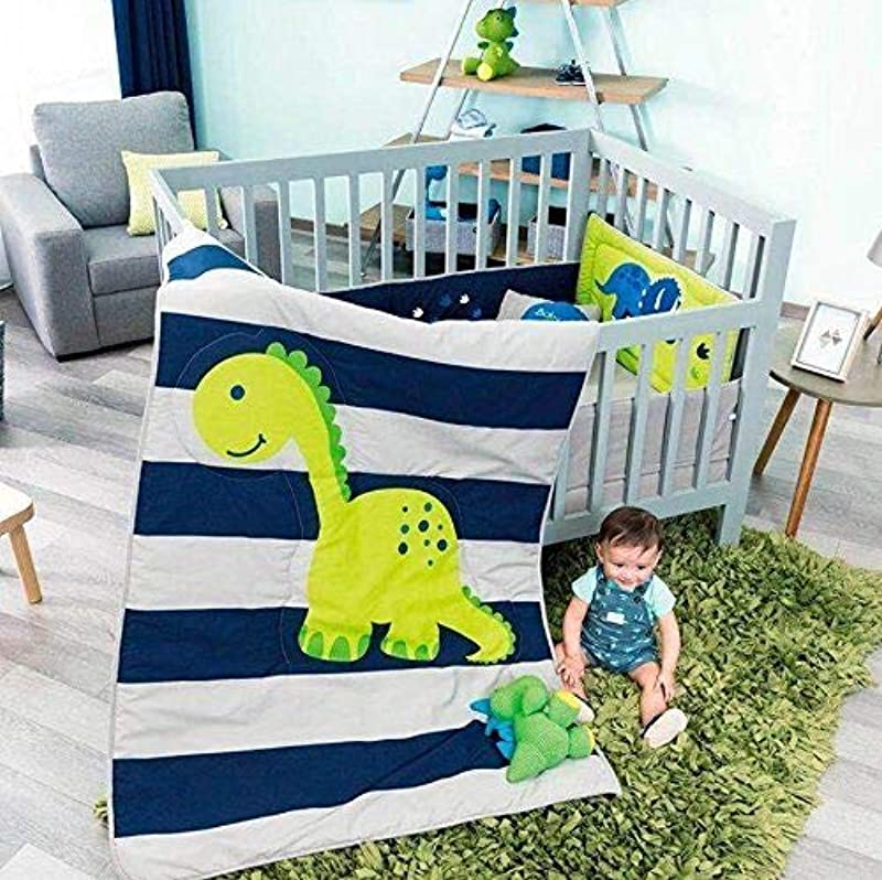 DreamPartyWorld Baby Dino Dinosaur BOY Crib Bedding Nursery Set Gift Bedding Blue 100 Cotton