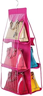 6 Pockets Handbag Hanging Purse Storage Anti-dust Cover Large Clear Bag Holder Organizer Closet Rack Hangers Save Space (Pink)
