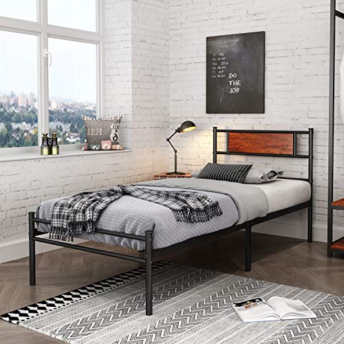 Modern Simplistic Metal Twin Size Bed Frames Platform with Headboard and Footboard