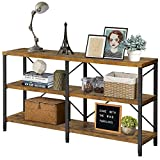 QEEIG Farmhouse Sofa Table 55 inches Long TV Stand Console Tables for Entryway 3 Tier Storage Shelves Industrial Narrow Entry Living Room Bedroom Hallway Entrance, Rustic Brown (ST002)