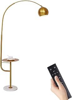 HMAKGG Lampadaire Arc LED Moderne, Lampadaire sur Pied Salon Dimmable avec Télécommande, Lampe Pied Design avec Etagere Me...