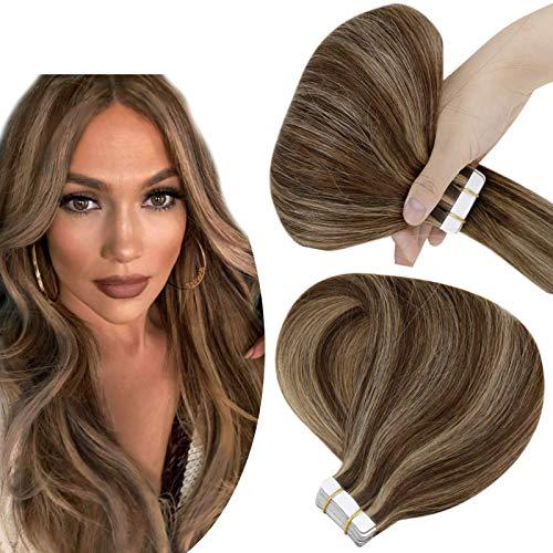 Hetto Extensions Adhesives Cheveux Naturels Bande Adhésif Brun Foncé Mixte Caramel Blond Extension Cheveux Bande Remy 22 Pouces Cheveux Humain 20 Pièces 50g par Paquet
