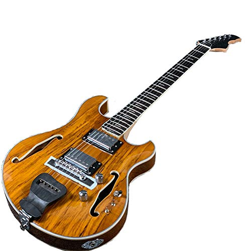 2021 Hollow Body LG Electric Guitar Saplted Maple Ebony Fingerboard Mini Switch (Yellow)