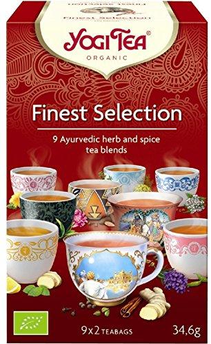 YOGI TEA®️ 3x Finest Selection Bio Yogi Tee I leckere ayurvedische Gewürz-Tee-Mischung - 9 verschiedene Sorten I echte Bio-Qualität - 3x 18 Tee-Beutel I große Kräuter-Tee Probier-Box 3 Päckchen